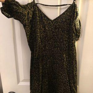 Off the shoulder leopard print dress